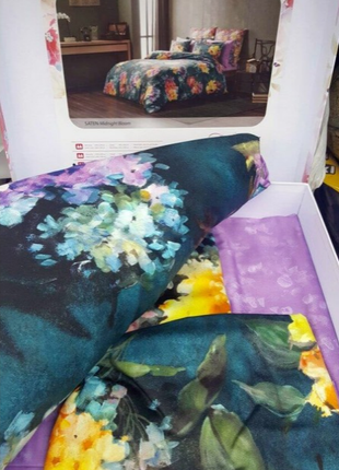 Постель цветы евро постельное белье tac сатин digital midnight bloom3