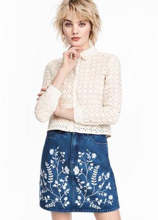Новая блуза с кружевной перфорацией h&m молочного цвета