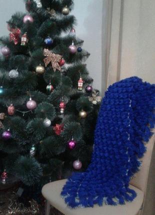 Плед-коврик из помпонов синий