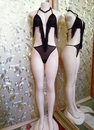 Сексуальный новый черный боди бренд miorre с бахромой, размер m-l.