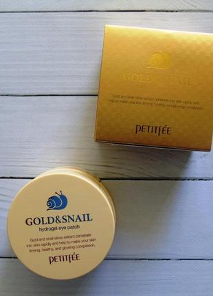 Патчи для глаз с золотом и улиткой petitfee&koelf gold & snail hydrogel eye patch