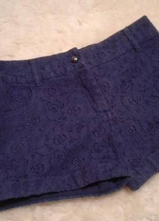 Ажурные, синие шортики f&f на девочку 8-9 лет