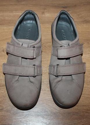 Кожаные полуботинки на липучках ecco, 38 размер