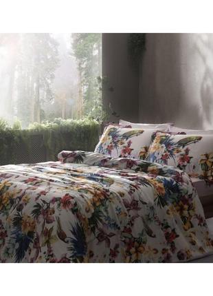 Постельное белье tac сатин digital exotic постель розовое евро1