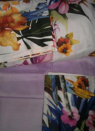 Постельное белье tac сатин digital exotic постель розовое евро2