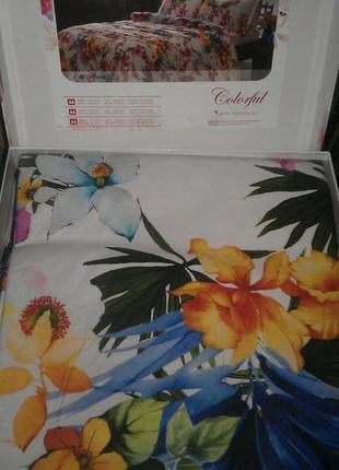 Постельное белье tac сатин digital exotic постель розовое евро3
