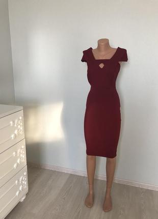 Шикарное бордовое миди платья
