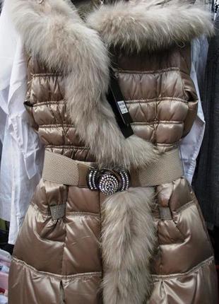 Новое зимнее пальто бикакана на девочек на натуральном пуху.