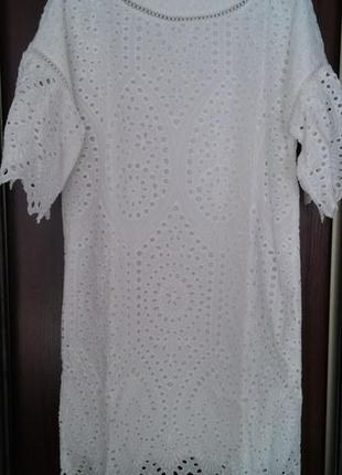 Ажурное хлопковое платье с вышивкой mademoiselle r от la redoute, франция, разм. m-l3 фото