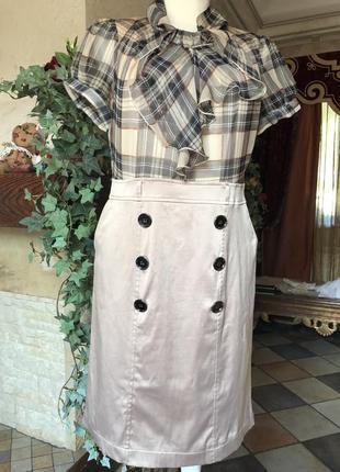 Платье элегантное , деловые , шёлк, клетка , размер m, бежево- кремовый