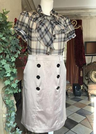 Платье элегантное , деловые , шёлк, клетка , размер m, бежево- кремовый3 фото
