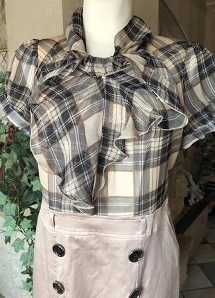 Платье элегантное , деловые , шёлк, клетка , размер m, бежево- кремовый4 фото