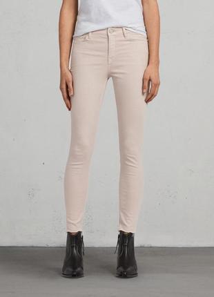 Новые котоновые фирменные узкие молочные бежевые  джинсы дудочки sknny next