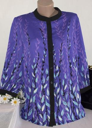Брендовая фиолетовая шифоновая блуза с рукавом 3/4 bob mackie принт листья