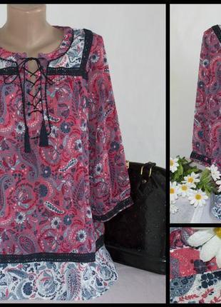 Брендовая красная шифоновая блуза вышиванка с рукавом 3/4 next индия принт цветы