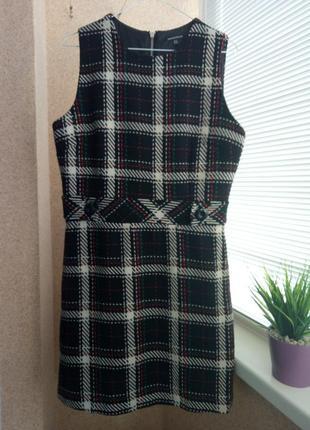 Утепленное платье - сарафан в клетку с содержанием шерсти на подкладке
