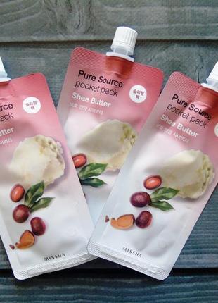 Маска для лица на основе масла ши missha pure source pocket pack shea butter