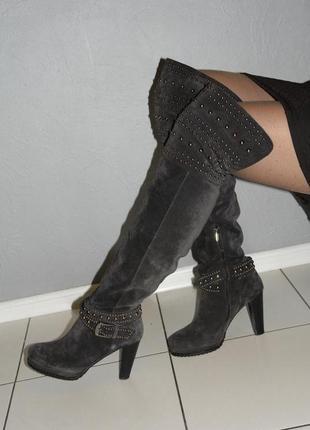 Сапоги замшевые демисезонные ботфорты утепленные серые на высоком каблуке португалия
