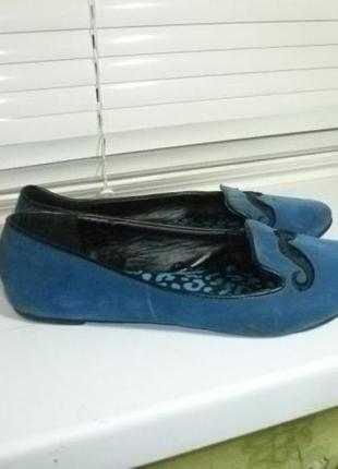 Туфли-балетки(лоферы) замшевые на низком ходу,25,5см