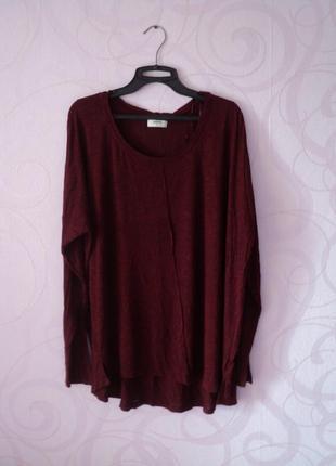 Бордовый свитер, большой размер, удлиненный джемпер, пончо, накидка, туника на осень