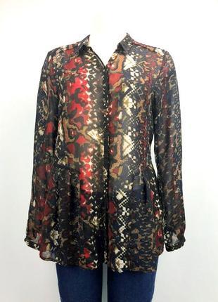 Крепдешиновая блузка - рубашка, для широких бедер, xl.1 фото