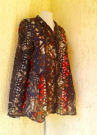 Крепдешиновая блузка - рубашка, для широких бедер, xl.4 фото