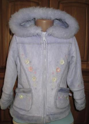 Демисезонная теплая куртка, дубленка, пальто на девочку 5-6 лет, рост 116 см