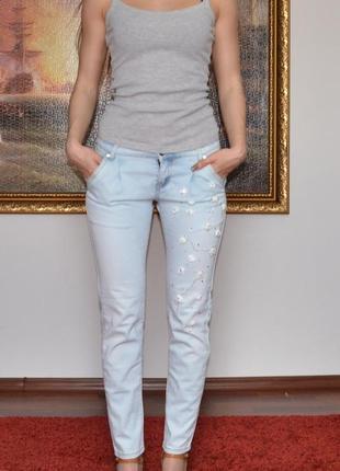 Летние джинсы со стразами artigli