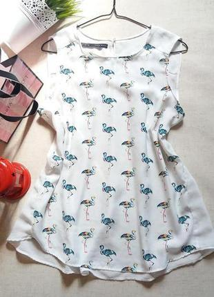 Блуза в принт фламинго zara