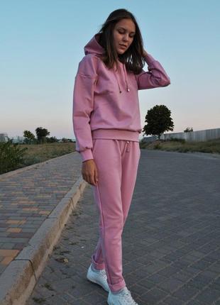 Женский спортивный костюм с капюшоном осенний розовый трикотажный