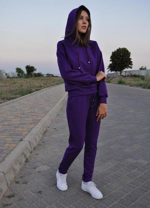 Женский спортивный костюм с капюшоном осенний фиолетовый трикотажный