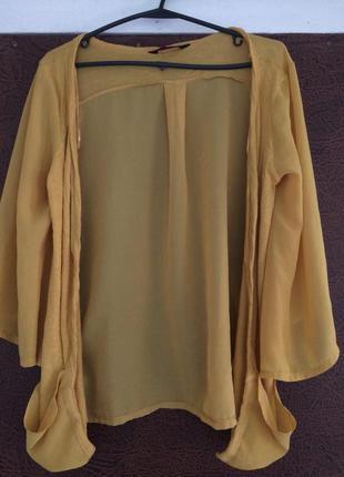 Шифоновая горчичная накидка кардиган кимоно с карманами