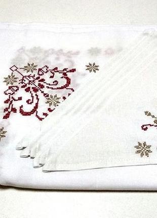 Подарок сувенир льняная вышитая скатерть и салфетки вишита скатертина с вышивкой вишивкою
