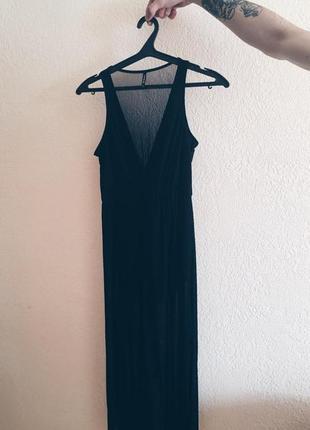 Черное платье с боди и сеточкой stradivarius spain