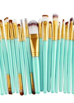 Акция ♥ набор кистей для макияжа 20 шт blue/gold видео обзор
