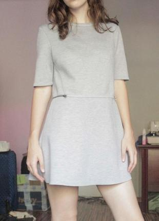 Простое серое платье befree осень