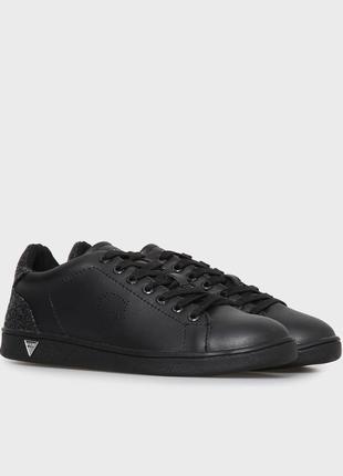 Женские черные кожаные сникеры кеды кроссовки /guess