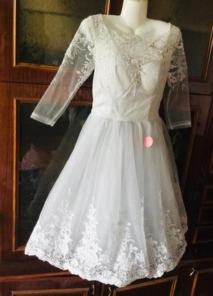 Chi-chi london свадебное короткое кружево платье мережво плаття