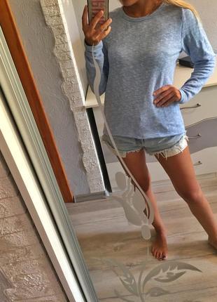 Стильная удлинённая кофта голубая на шнуровке , джемпер , свитшот