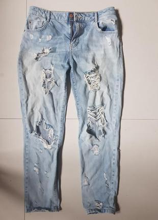 Укороченные рваные джинсы зара zara