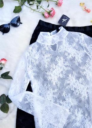 Нежная кружевная прозрачная блуза
