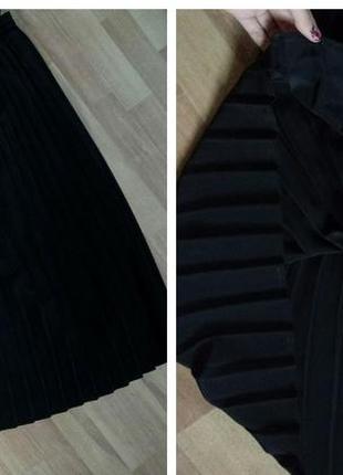 Брендовая миди юбка плисс