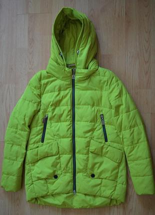 Куртка 38 40 44 48 зимняя демисезонная салатовая зелена демісезонна зимова жіноча пуховик