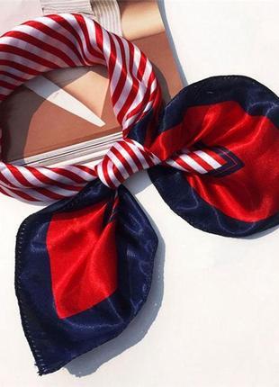 Шелковый платок в полоску красный синий черный на шею на голову