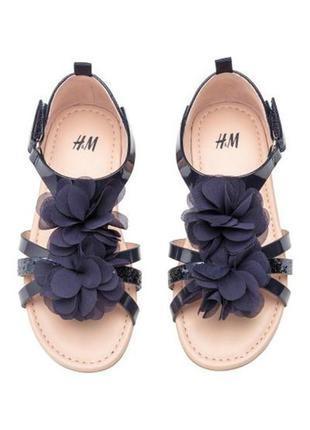 Нарядные темно- синие босоножки, сандалии, h&m, 26, 28