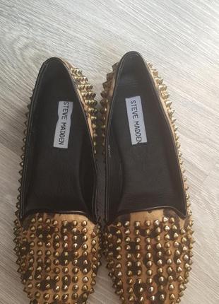 Балетки мокасины туфли с шипами steve madden 38, 39 размер 24,5 - 25 см2