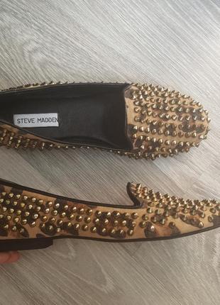 Балетки мокасины туфли с шипами steve madden 38, 39 размер 24,5 - 25 см3