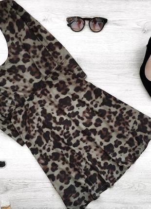 Крутое леопардовое платье под замш с юбкой солнце stela