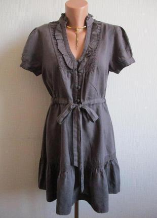 Натуральное платье из 100% льна с кружевом warehouse
