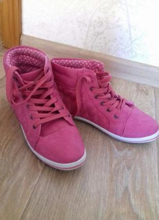 Ботинки женские розовые осение